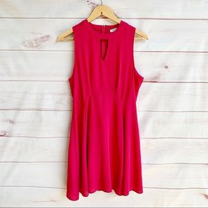 She + Sky Pink Key Hole Neck Dress